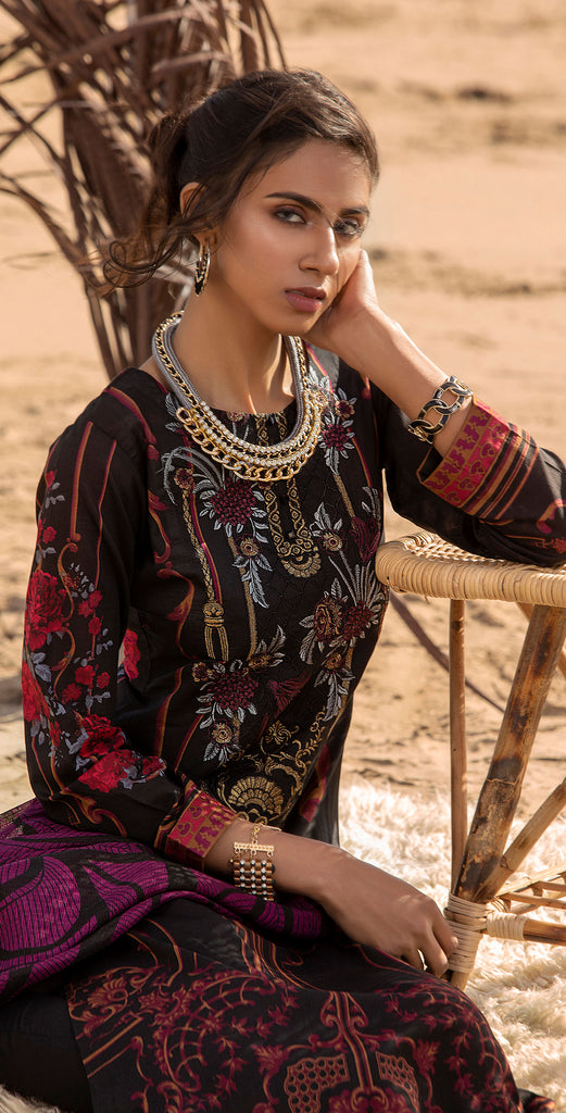 Unstitched 3pc Printed Embroidered Lawn Shirt with Fancy Printed Check Dupatta (WK-496A)