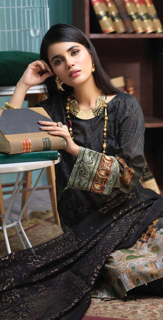 Unstitched 3pc Digital Printed Lawn Shirt with Embroidered Front  & Braso  Dupatta- Rococo (WK-320)