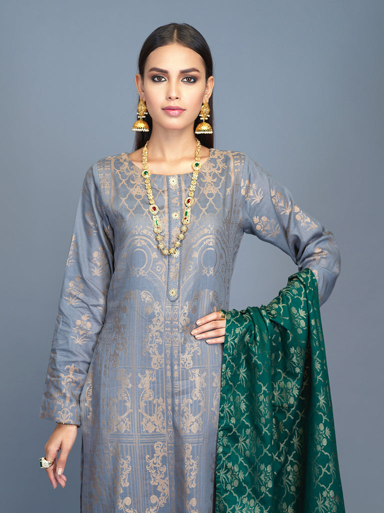 Unstitched 3pc Cambric Jacquard  Shirt with Cambric Jacquard  Dupatta - Jacquard classic (WK00589)
