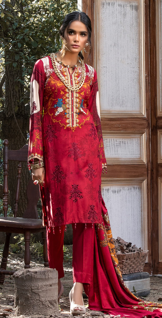 Un-Stitched 3pc Printed Linen Embroidered Shirt with Printed Linen Dupatta (WK-383B)