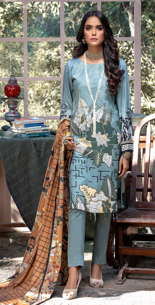 Stitched 3pc Printed Linen Embroidered Shirt with Printed Linen Dupatta (WK-380A)