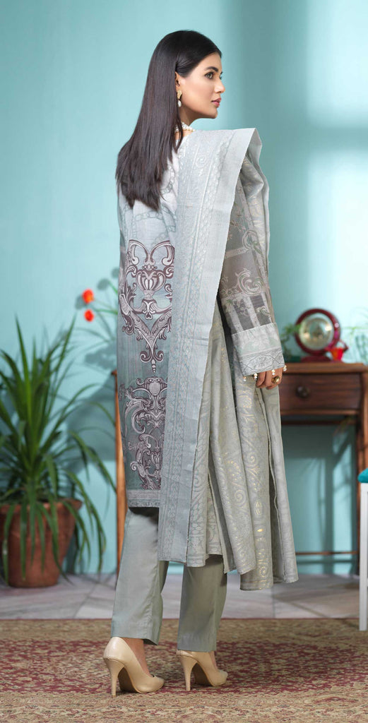 Stitched 3pc Digital Printed Lawn Shirt with Embroidered Front  & Brasso  Dupatta - Rococo (WK-319)