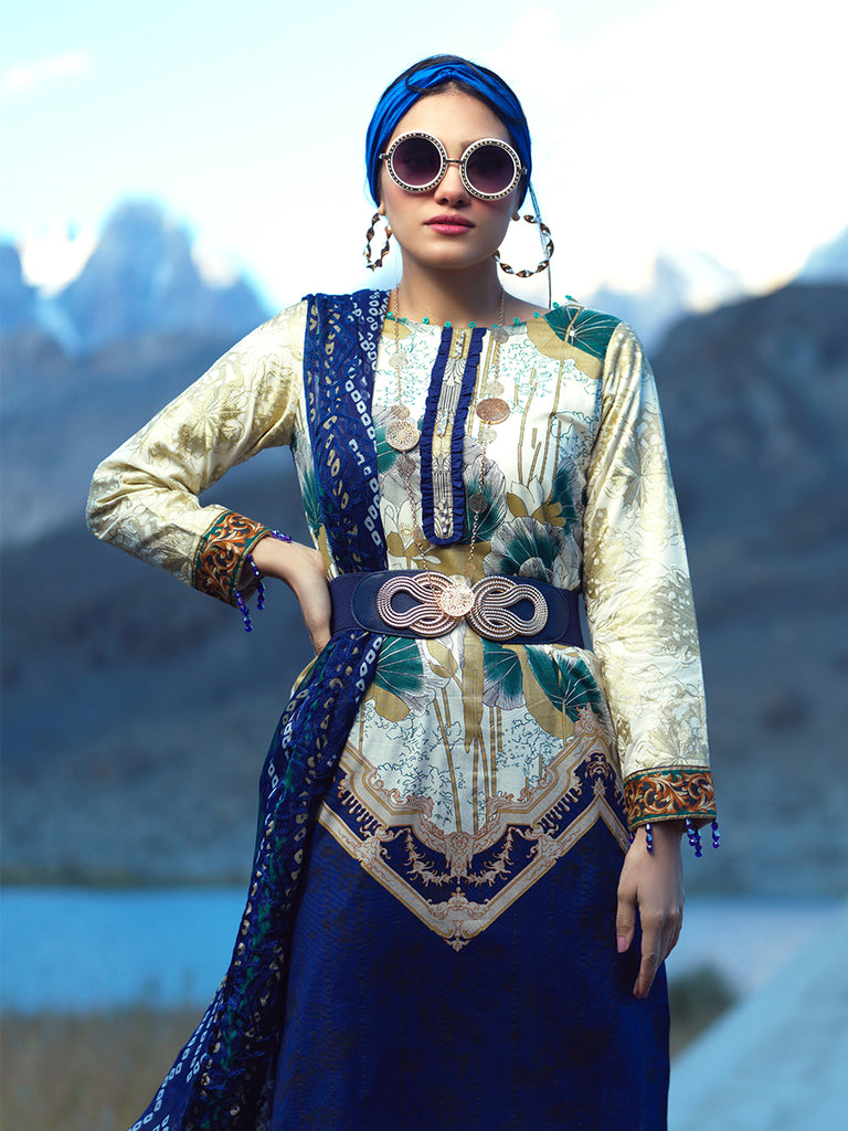 3pc Printed Embroidered Cambric Shirt & Printed Embroidered Chiffon Dupatta - LaRobe(Wk-00567A)