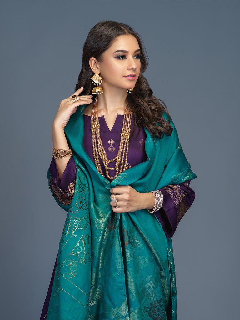 Unstitched 3pc Viscose Jacquard  Shirt and  Dupatta with vicose trouser-  Viscose Jacquard (Rc-00201)
