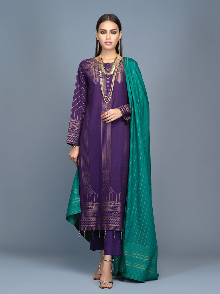 Unstitched 3pc Cambric Jacquard  Shirt with Cambric Jacquard  Dupatta - Jacquard classic (WK-00604)