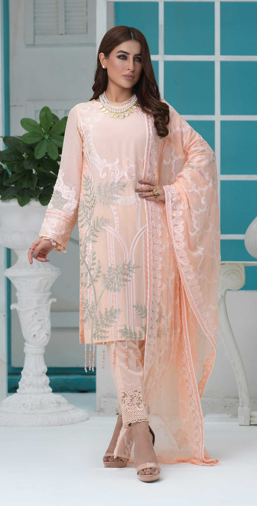 Unstitched 3pc Luxury Embroidered Swiss Shirt with Embroidered Chiffon Dupatta and Trouser Bunches - Swiss(WK-349)