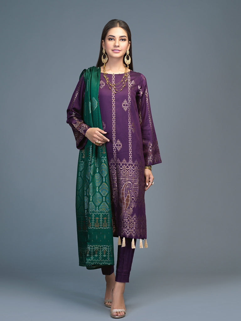 Unstitched 3pc Viscose Jacquard  Shirt and  Dupatta with vicose trouser-  Viscose Jacquard (Rc-00218)