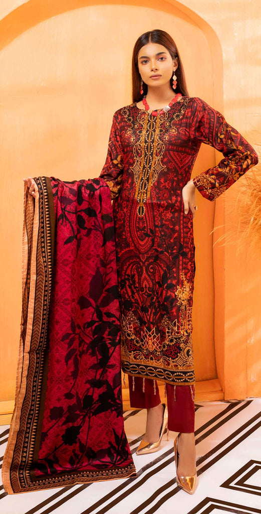 Unstitched 3pc Printed Lawn Shirt with Printed Lawn Dupatta - INAYA2 (IP-29A)