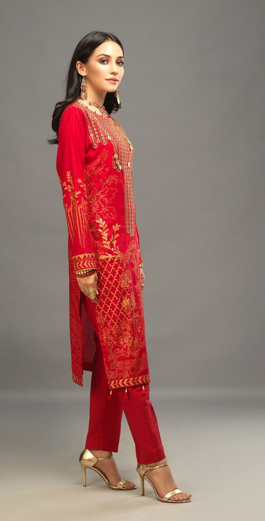 Unstitched 3pc Printed Embroidered Lawn Shirt with Woven Khaddi Dupatta - Shades (WK-00545A)