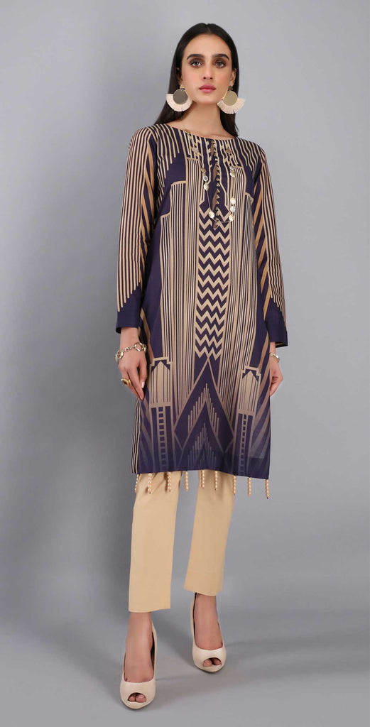 Unstitched 1pc Digital Printed Lawn Shirt - UK-01