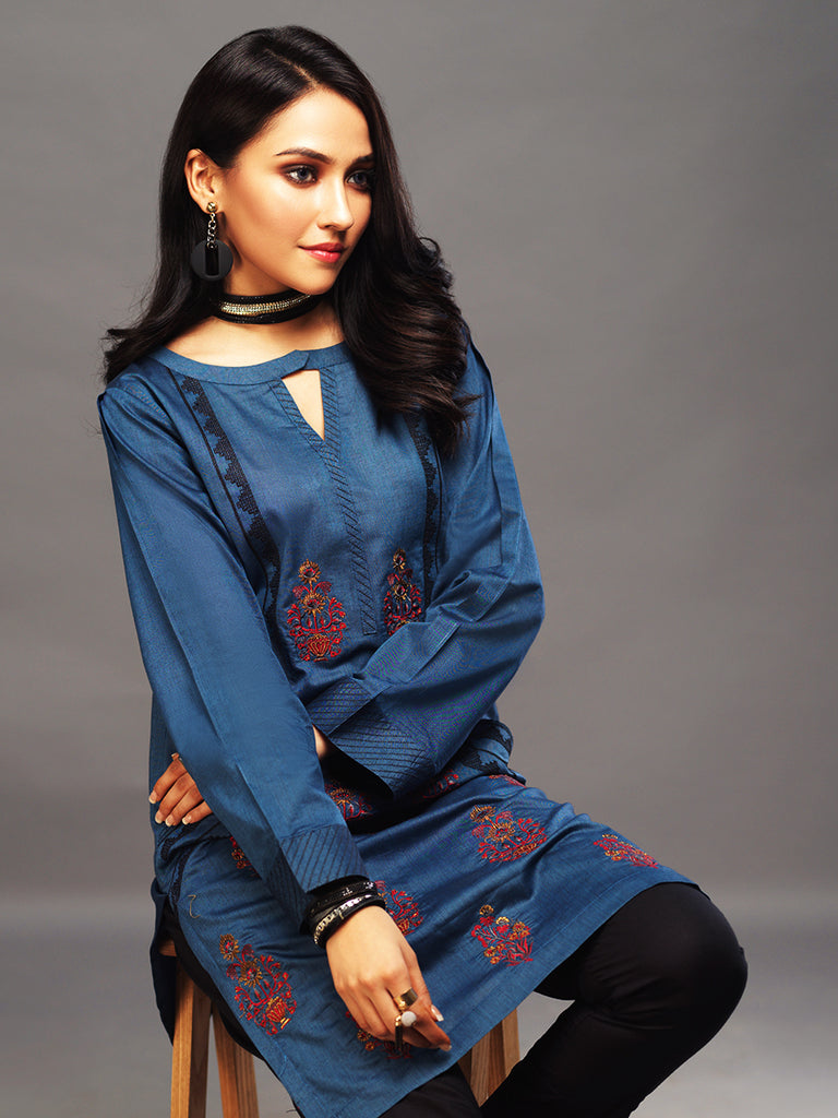 Sticthed 1pc Two Toned Kurti   - Casual Pret (CP-00024)