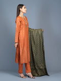 Unstitched 3pc Cambric Jacquard  Shirt with Cambric Jacquard  Dupatta - Jacquard classic (WK-00591)