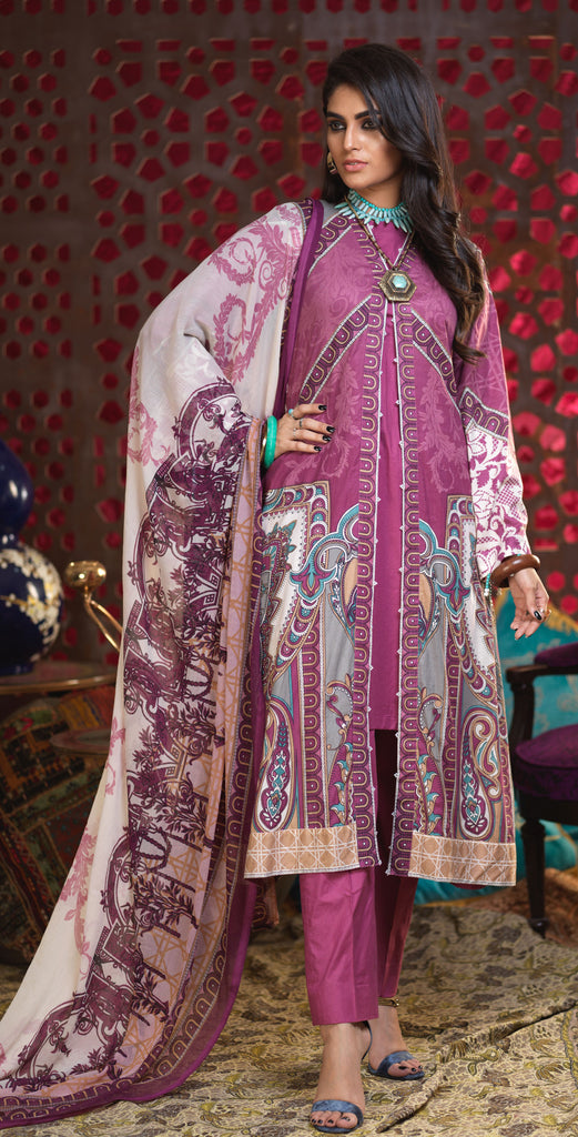 Unstitched 3pc Printed Lawn Shirt with Printed Chiffon  Dupatta - Orchid (RC-165B)