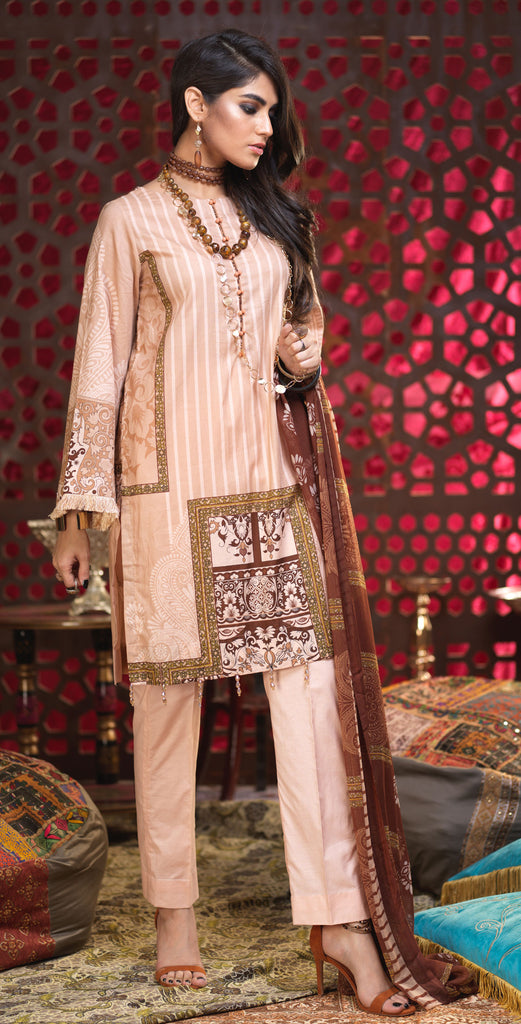 Unstitched 3pc Printed Lawn Shirt with Printed Chiffon  Dupatta - Orchid (RC-169A)