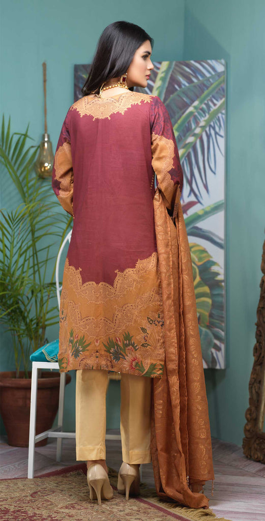 Unstitched 3pc Digital Printed Lawn Shirt with Embroidered Front  & Braso  Dupatta- Rococo (WK-328)