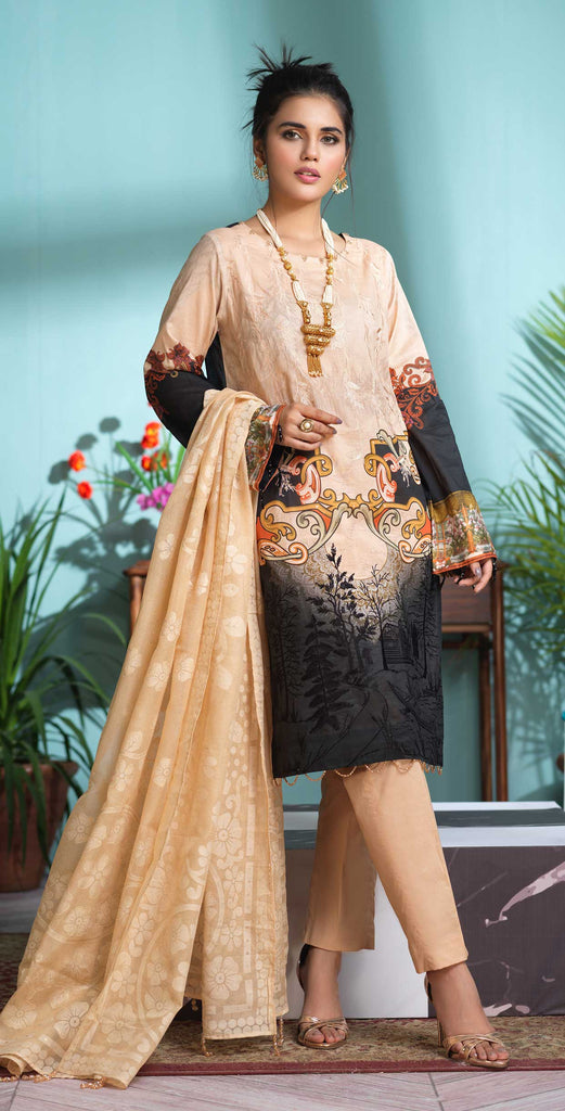Unstitched 3pc Digital Printed Lawn Shirt with Embroidered Front  & Braso  Dupatta- Rococo (WK-325)