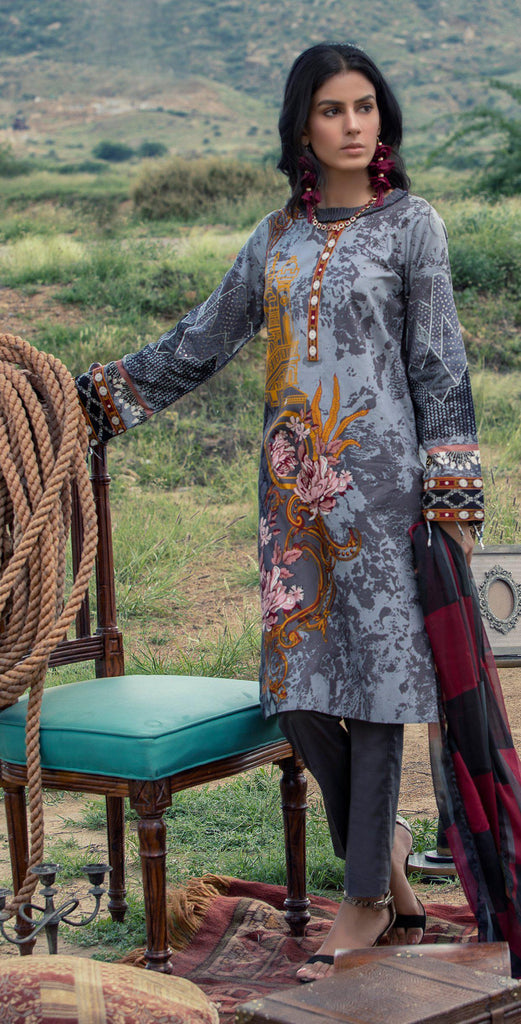 Un-stitched 3pc Printed Embroidered Cambric  Shirt with Printed Chiffon Dupatta RC-178A