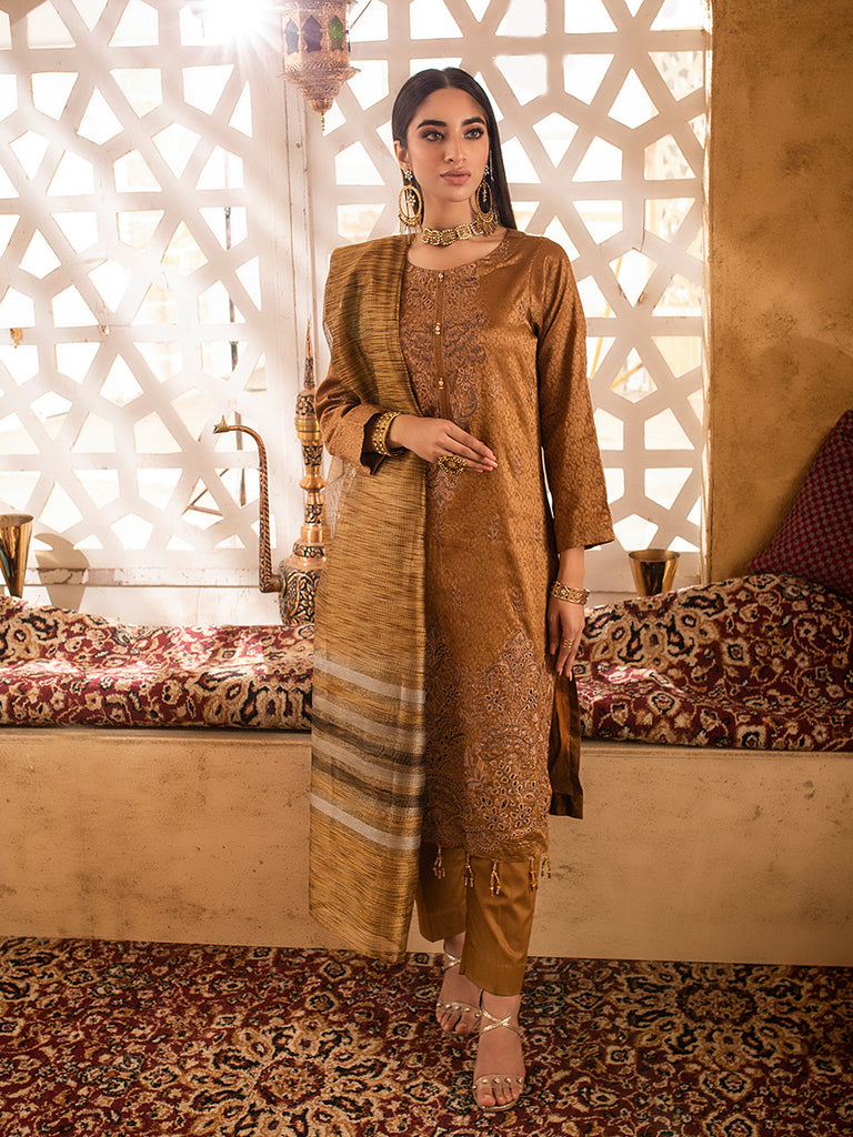 3pc Jacquard Embroidered Shirt With Khaddi Dupatta and cambric Trouser- (WK-00632)