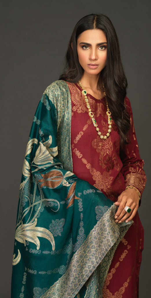 Unstitched 3pc Jacquard Shirt with four side Jacquard  Dupatta -JacquardClassic (WK-520B)