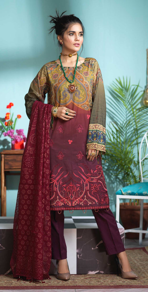 Stitched 3pc Digital Printed Lawn Shirt with Embroidered Front  & Brasso  Dupatta - Rococo (WK-318)