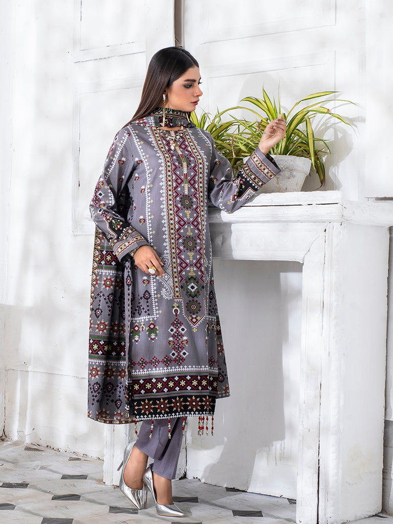 3pc Printed Cambric Shirt with Printed Lawn Dupatta & Cambric Trouser - Inaya (IP-00052B)