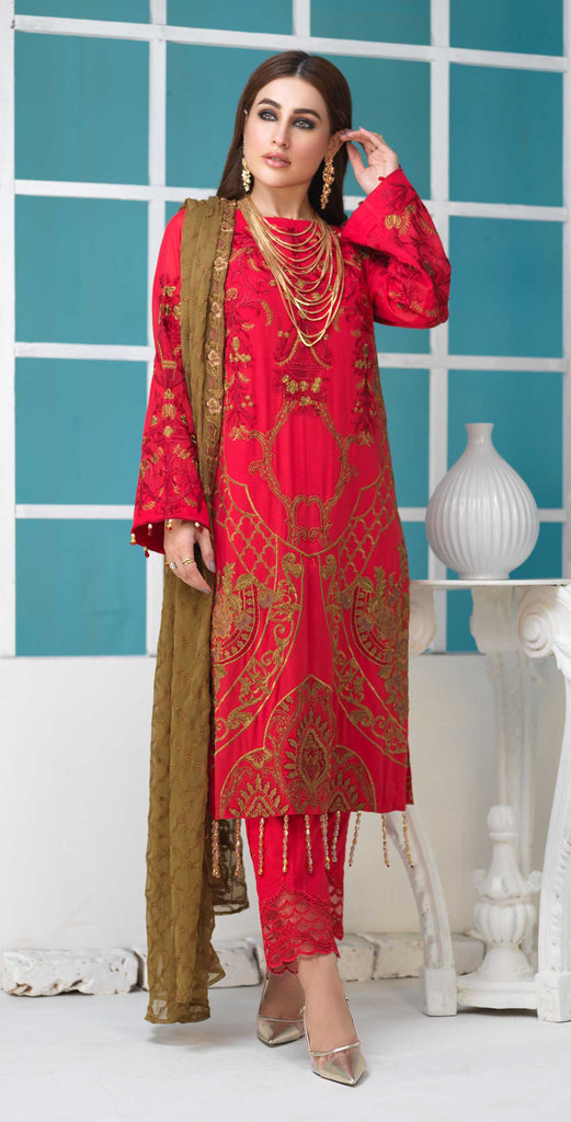 Unstitched 3pc Luxury Embroidered Swiss Shirt with Embroidered Chiffon Dupatta and Trouser Bunches - Swiss(WK-358)
