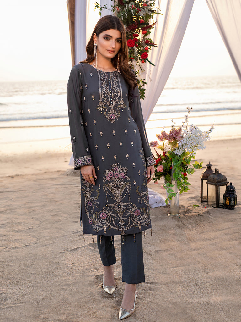 Diamond Stone-1pc Unstitched Luxury Embroidered Chiffon Shirt with Raw Silk Inner (wk-00624)
