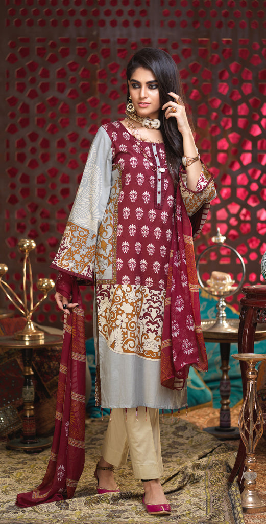 Unstitched 3pc Printed Lawn Shirt with Printed Chiffon  Dupatta - Orchid (RC-169B)