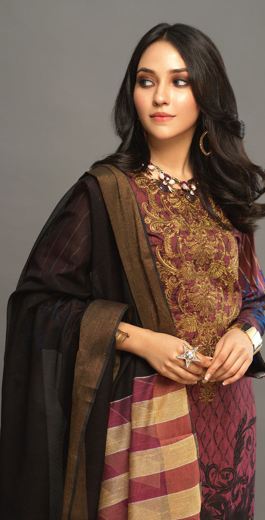 Stitched 3pc Printed Embroidered Lawn Shirt with Woven Khaddi Dupatta - Shades (WK-00543A)