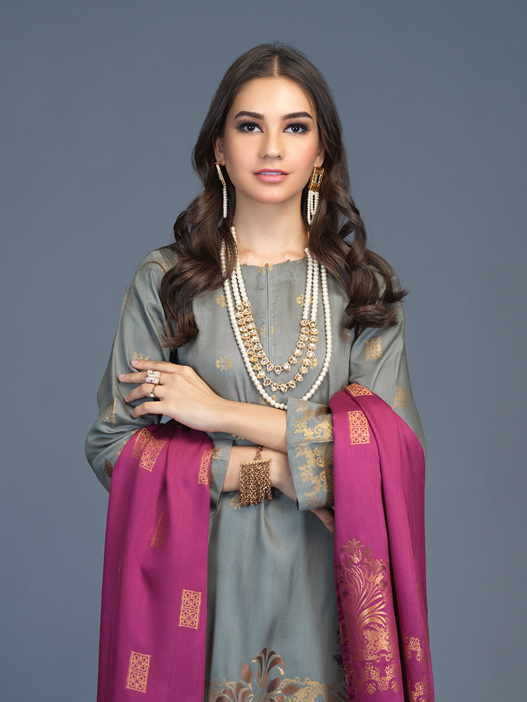 Unstitched 3pc Viscose Jacquard  Shirt and  Dupatta with vicose trouser-  Viscose Jacquard (Rc-00210)