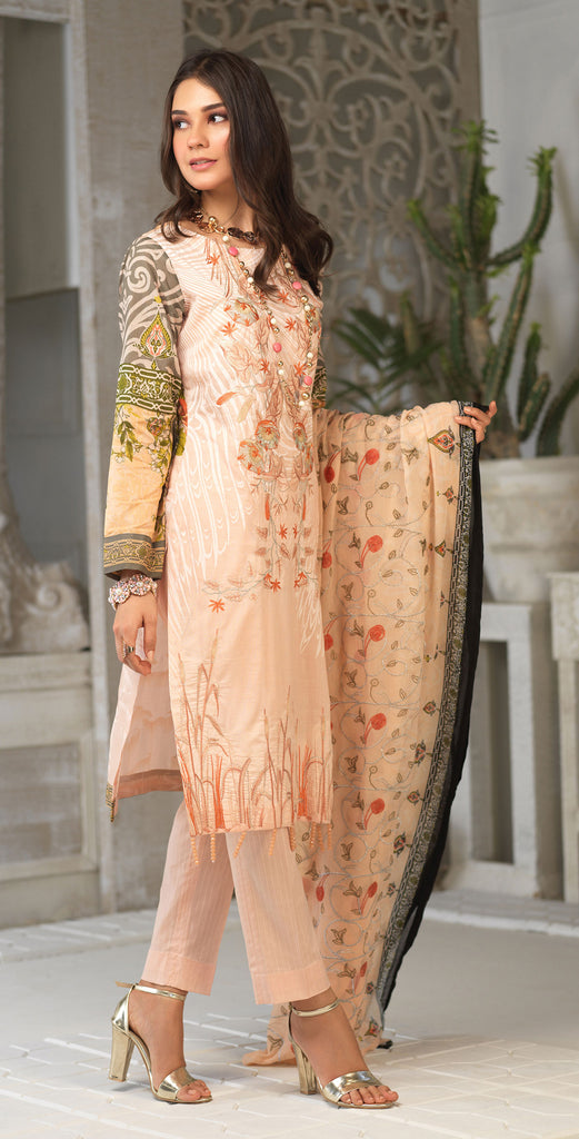 Unstitched 3pc Printed Embroidered Lawn Shirt with Printed Embroidered Chiffon  Dupatta - Fasutina WK-00529B)