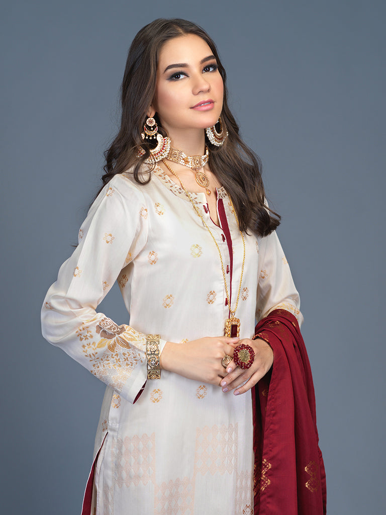 Unstitched 3pc Viscose Jacquard  Shirt and  Dupatta with vicose trouser-  Viscose Jacquard (Rc-00192)