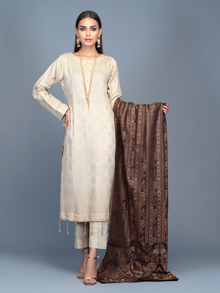 Unstitched 3pc Cambric Jacquard  Shirt with Cambric Jacquard  Dupatta - Jacquard classic (WK-00601)