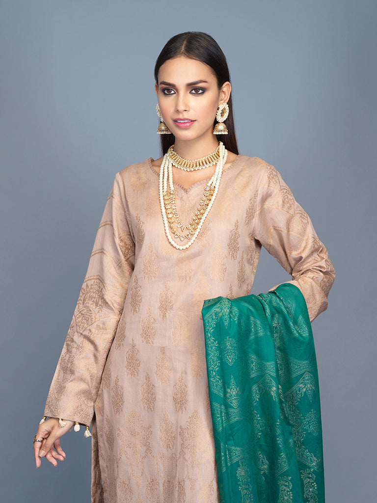 Unstitched 3pc Cambric Jacquard  Shirt with Cambric Jacquard  Dupatta - Jacquard classic (WK-00605)