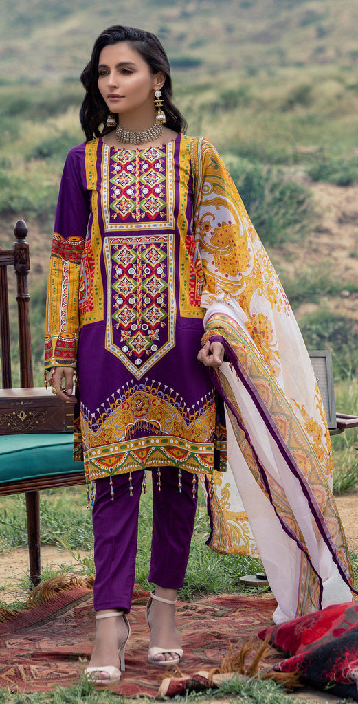 Un-stitched 3pc Printed Embroidered Cambric  Shirt with Printed Chiffon Dupatta RC-177A