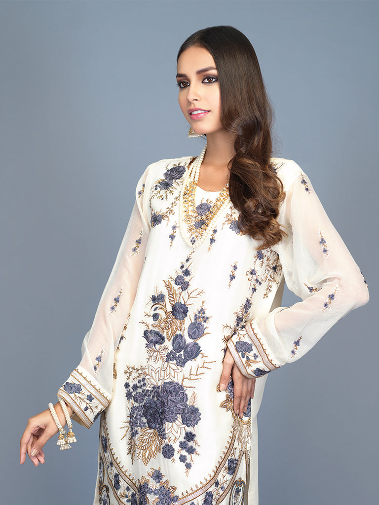 Daisy- Stitched 2pc Embroidered Chiffon  Stitched Shirt  With Raw Silk Trouser- (PR-00022)