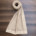 Brownish Grey ChikanKari Dupatta  | 4 side border (DCK-12)