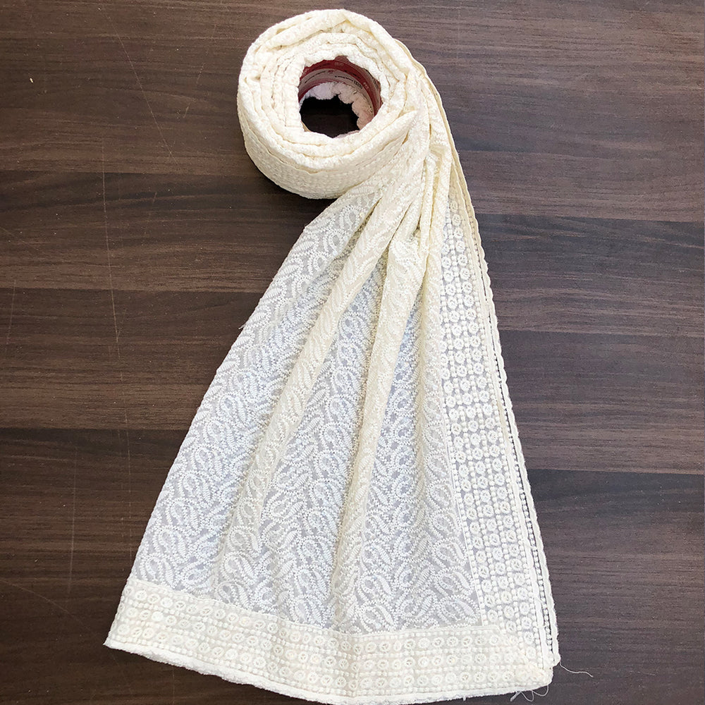 Off-White ChikanKari Dupatta  | 4 side border (DCK-16)