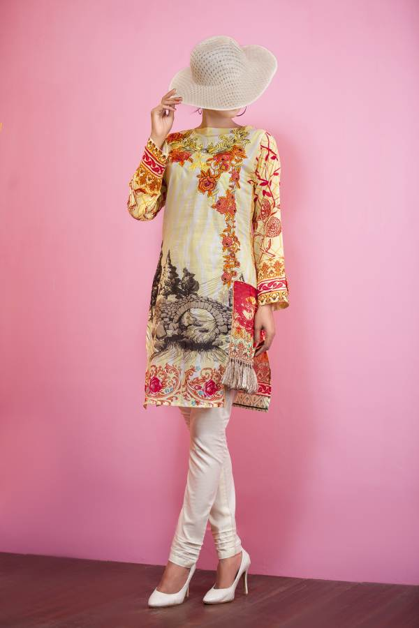 Un-Stitched Embroidered Kurti On Premium Lawn WK-35