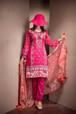 Ladies 3pc Cambric Collection Embroidered Shirt with Net Dupatta RC-71B