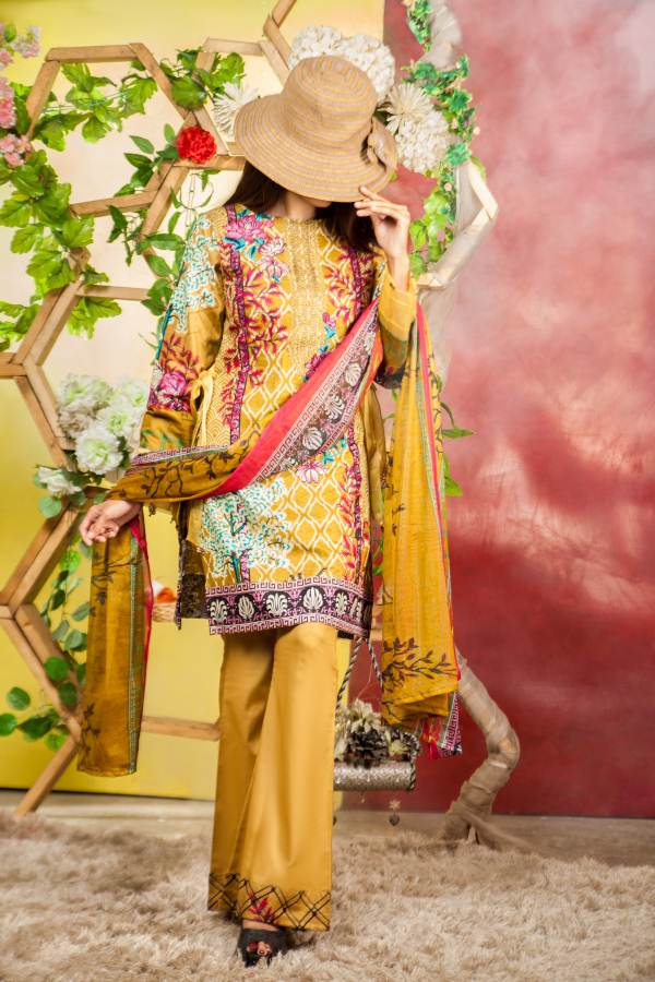 Ladies 3pc Cambric Shirt Embroidered Gala with Net Dupatta (WK-58b)