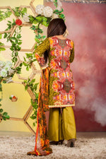 Ladies 3pc Cambric Shirt Embroidered Gala with Net Dupatta (WK-56B)