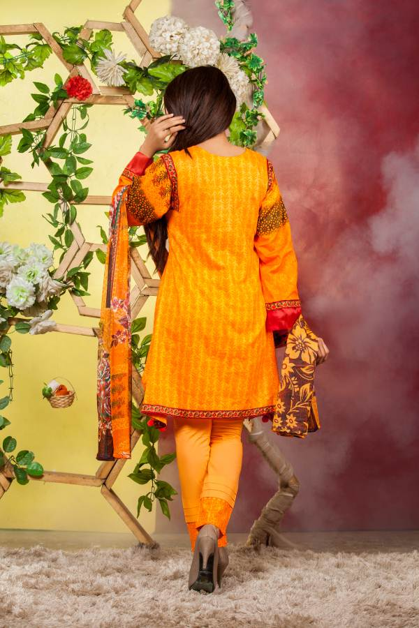 Ladies 3pc Cambric Shirt Embroidered Gala with Net Dupatta (WK-57B)