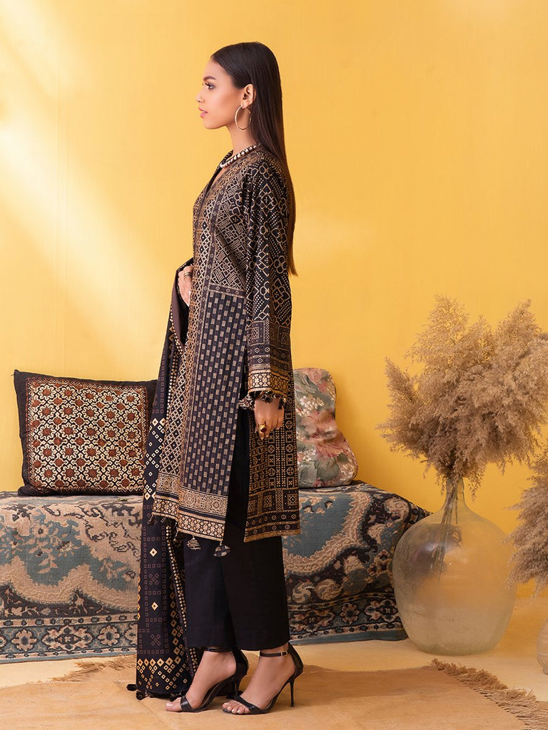 Unstitched 3pc Printed Lawn Shirt with Printed Lawn Dupatta & Dyed Cambric Trouser - Inaya (IP-00031A)
