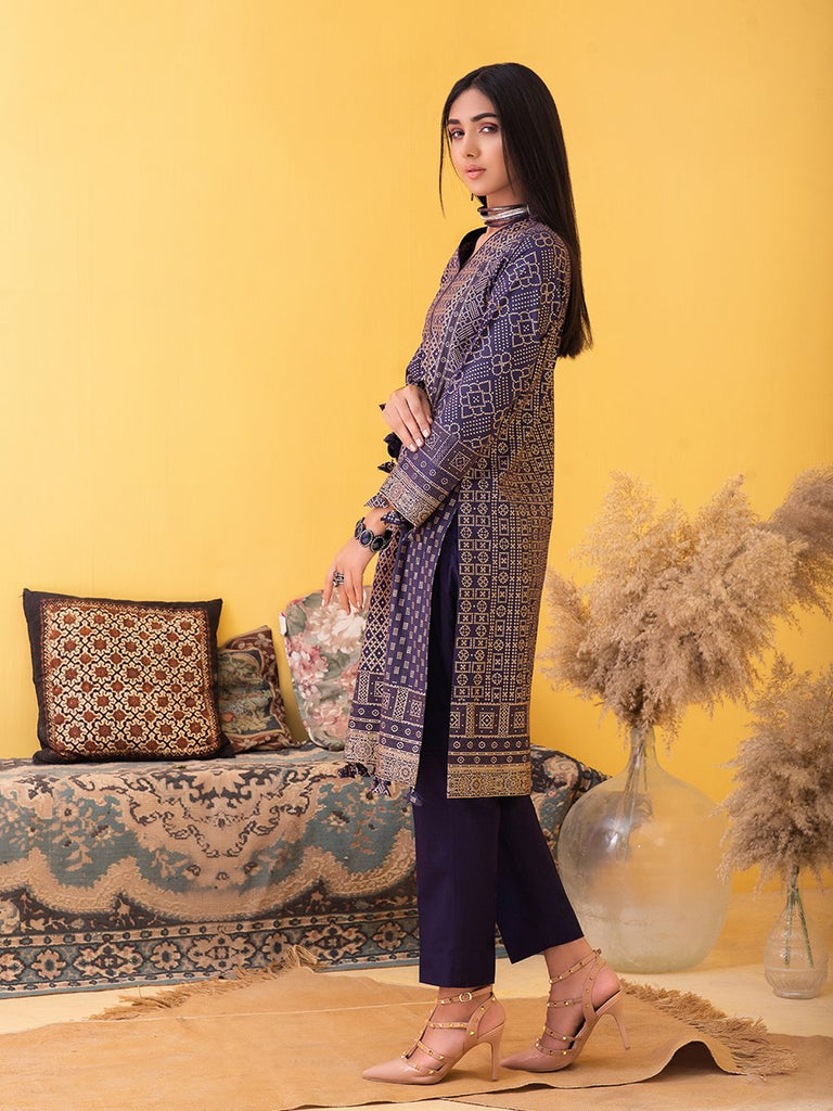 Unstitched 3pc Printed Lawn Shirt with Printed Lawn Dupatta & Dyed Cambric Trouser - Inaya (IP-00031B)