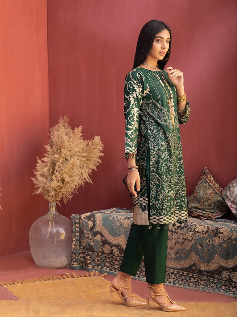 Unstitched 3pc Printed Lawn Shirt with Printed Lawn Dupatta & Dyed Cambric Trouser - Inaya (IP-00032A)