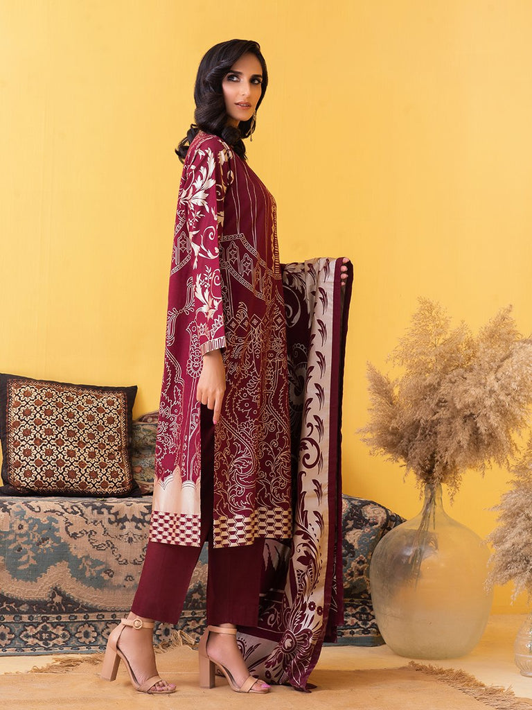 Unstitched 3pc Printed Lawn Shirt with Printed Lawn Dupatta & Dyed Cambric Trouser - Inaya (IP-00032B)