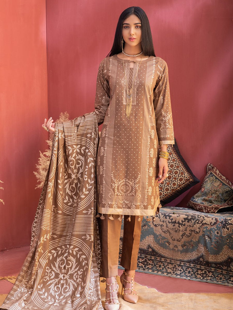 Unstitched 3pc Printed Lawn Shirt with Printed Lawn Dupatta & Dyed Cambric Trouser - Inaya (IP-00034B)