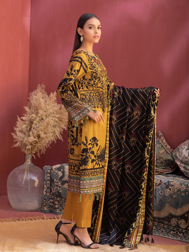 Unstitched 3pc Printed Lawn Shirt with Printed Lawn Dupatta & Dyed Cambric Trouser - Inaya (IP-00035A)