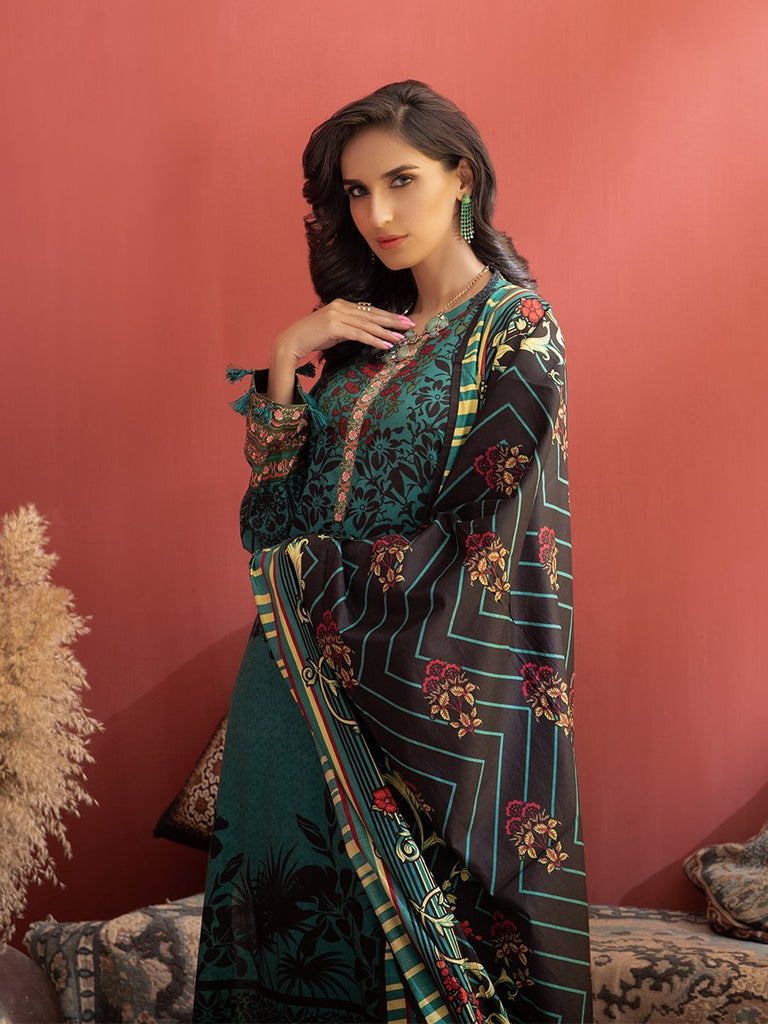 Unstitched 3pc Printed Lawn Shirt with Printed Lawn Dupatta & Dyed Cambric Trouser - Inaya (IP-00035B)